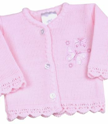 BabyPrem Premmie Preemie Baby Girls Clothes Pink Knitted Cardigan 000000 1.5-2.4