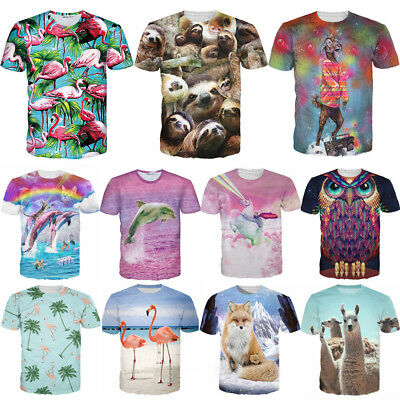 Womens/Mens Funny Animal Sloth Flamingo 3D Print Casual T-Shirt Short Sleeve Tee