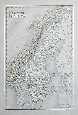1844 SWEDEN & NORWAY GENUINE ANTIQUE MAP Engraved by Sidney Hall / Black