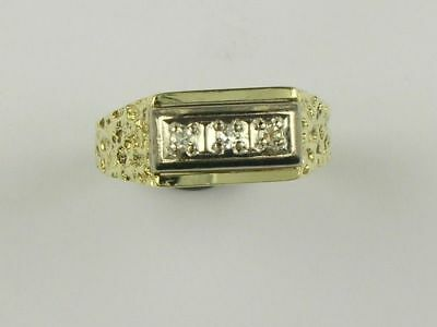 hbr89) Goldring Diamantring Ring Diamant 55/17,5mm Gold 585/- bicolor