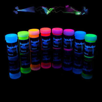 8 x 50ml Schwarzlichtfarbe, Tagesleuchtfarbe, UV-Farbe, Neon
