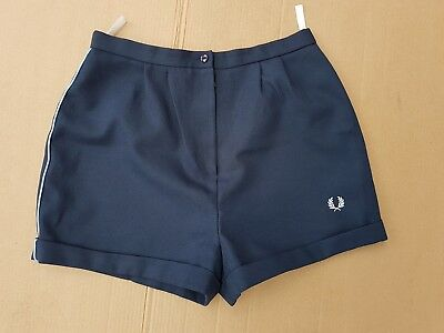 """J508 Womens Fred Perry Vintage 70's Blue Tennis Shorts Uk Xl 14 32"""""""
