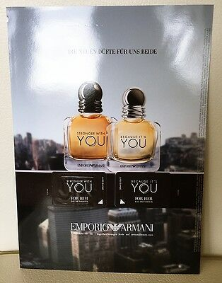 Giorgio Armani Because It's You & Stronger With You Duftpads Sammeln Parfum NEU