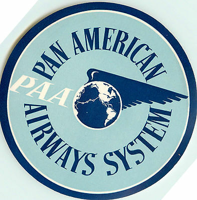 PAN AMERICAN AIRWAYS / PAN AM / PAA - Great Old Airline Luggage Label, 1955