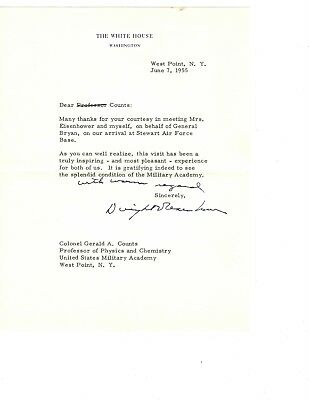 WWII General President Dwight Eisenhower IKE Signed Autograph Letter West Point