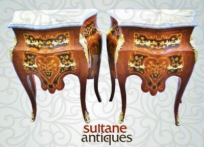 Pair of  Superb Louis XV style marquetry side commode