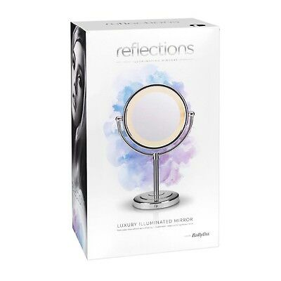 BaByliss Reflections Luxury Illuminated Hair and Make-up Mirror, Chrome 9429BU
