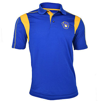 AUTHENTIC MLB Blue Milwaukee Brewers TX3 COOL POLO SHIRT WITH EMBROIDERED LOGO