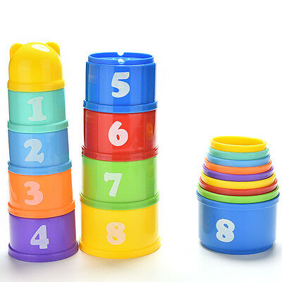 9X Stack&Nest Plastic Cups Rainbow Stacking Tower Educational Stacking Kid Toy Z