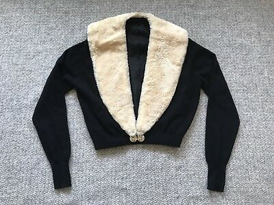 Stunning Vtg 50's Hadley Cashmere Sweater Cardigan Removable Mink Fur Collar