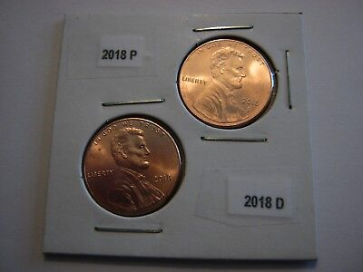 2018 P  &  2018 D   SHIELD LINCOLN CENT 2 Coin Set- BU 1st release OBW rolls