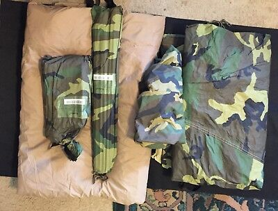 Marine Combat Tent Nsn 8340-01-452-5919 & USMC Combat Tent Two-Man Three-season with Rain Fly Stakes Poles ...