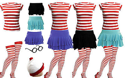 New Womens Wheres Wally Strips T-Shirt Kit Hen Party Costume 6 8 10 12 14 16 18