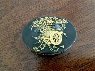 Antique Japanese Patinated Box - Gold Applied Decoration