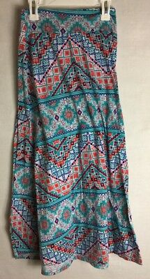 Amy's Closet, Aqua/Multicolor Maxi Skirt Size 14