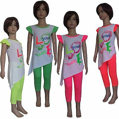 New Girls Tunic Dress Long Top and Leggings 2 Pieces Set Summer Outfit 2-8ys #70