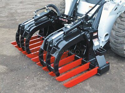 """58"""" Extreme/Severe Duty Demolition Skid Steer/Loader Grapple, Dual Jaw, 9 Tines"""