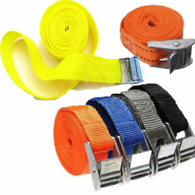 1pc Thick Pack Cam Tie Down Strap Cargo Lash Luggage Bag Belt With Metal Buckle