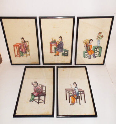 SET OF 5 ANTIQUE CHINESE PITH RICE PAPER PAINTING MANDARIN COURT 19th