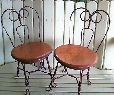 Childs Ice Cream Parlor Chairs Set of 2 - Vintage-Twisted Wrought Iron-Oak Seats