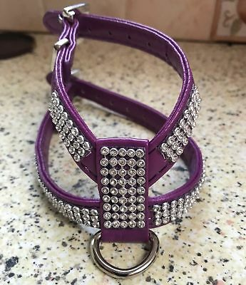 Purple Plum Dog Diamante Dog Puppy Harness Wide Straps Xxs Xs