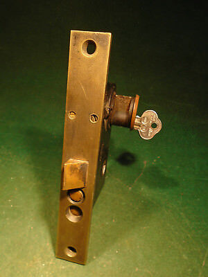 "PENN #8300 PUSH BUTTON BRASS ENTRY MORTISE LOCK w/KEYS 6 3/4"" FACEPLATE (7467)"