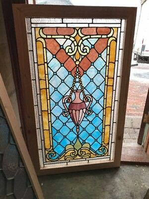 Sg 2104 Amazing Antique Jeweled Urn Stained Glass Landing Window 28.25 X 46.75