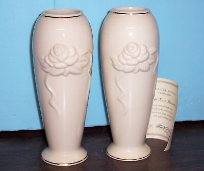 """Lot Of 2 Lenox Rose Blossom Vases Cream /ivory With Gold Trim 7.5""""  Never Used"""