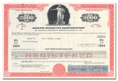 Martin Marietta Corporation Bond Certificate