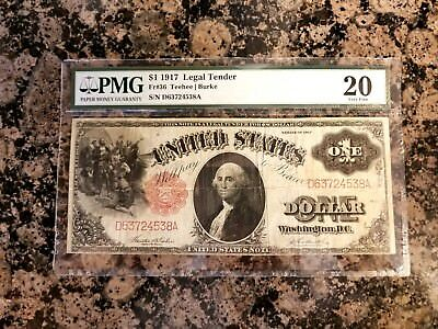 "1917 $1 Legal Tender ""Sawhorse"" antique paper currency PMG VF Very Fine 20 PMG"