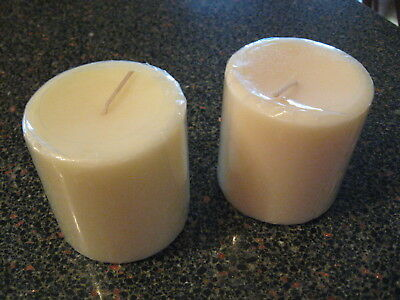 """Longaberger 3"""" x 3"""" pillar candles Qty 2 -Unscented Ivory color New"""