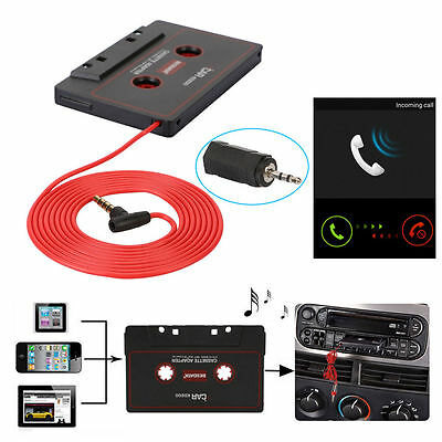 Audio AUX Car Cassette to MP3 CD MD iPod Phone Tape Adapter Converter 3.5mm +Mic