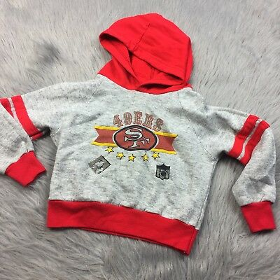 Vtg Toddler NFL San Francisco 49ers Red Gray 1990s Hoodie Sweater