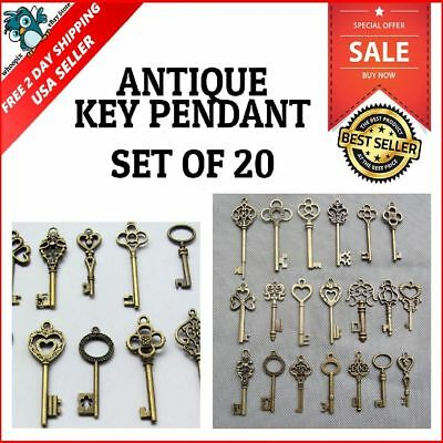 Skeleton Keys Antique Vintage Old Bulk Large Lock Key Brass Bronze 20-Piece Set
