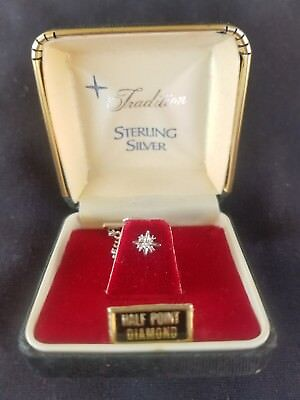 TRADITION - Sterling Silver w/ Diamond Point TIE TACK - Vintage Sears - w/ Box