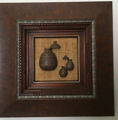 Pair of Framed Philippine Antique Jars Embedded in Abaca Fabric Wall Decor