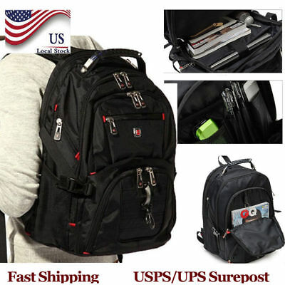 "Men's Nylon Laptop Backpack Travel School Pack 15.6"" Notebook Bag Waterproof BP"