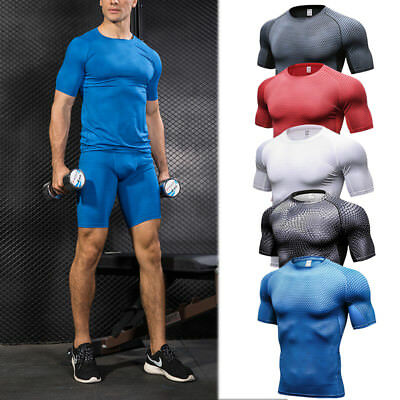 Men's Compression Tops Shorts Running Workout Fitness Gym Tights Spandex Wicking