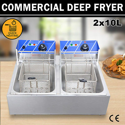 Commercial Electric Deep Twin Fryer Frying Basket Plate Chip Cooker Fry 2x10L