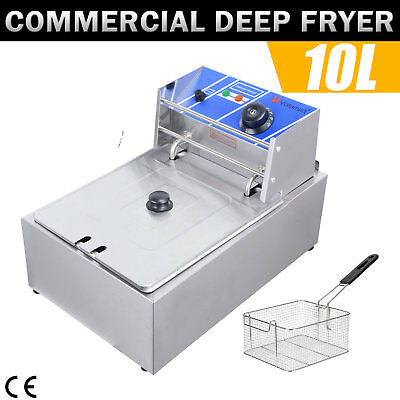 2500W Commercial Electric Deep Twin Fryer Frying Basket  Chip Cooker Fry 10L
