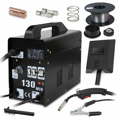MIG 130 Core Wire Automatic Feed Welding Machine Welder w/ Cooling Face Mask New