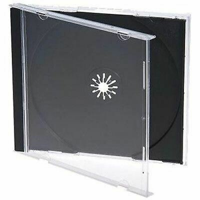 50 Standard 10mm jewel CD cases with BLACK Tray SINGLE Disc 10.4mm case PO SBT