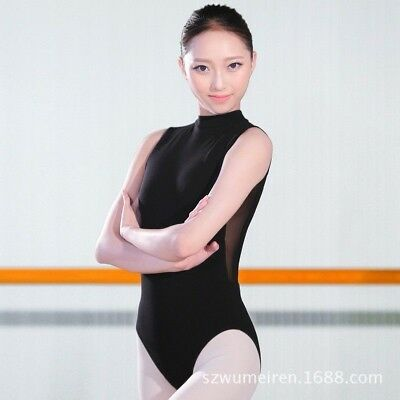 Women Leotard Open Back Ballet Dance Bodysuit Dancewear Gymnastics Sheer S-2XL