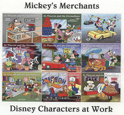 ST VINCENT /GRENADINES DISNEY WORKERS On Stamps MICKEY Mouse Merchants Donald