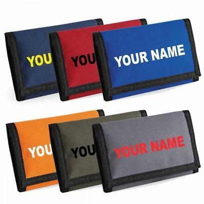Personalised Credit Card & Coin Velcro Fastening Wallet With Name Printed On