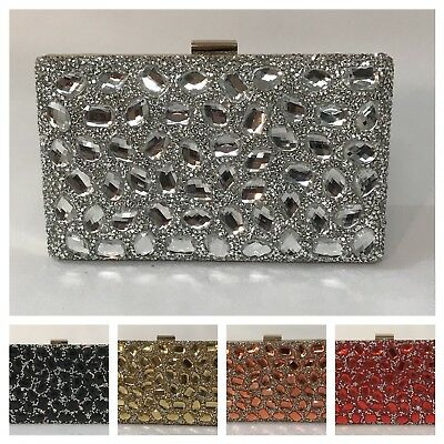 Women Diamante And Jewelled Clutch Evening Bag For Weddings And Formal Occasion