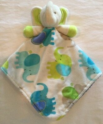 Blankets & Beyond ELEPHANT Security Blanket Blue White Lime Green Plush Baby Toy