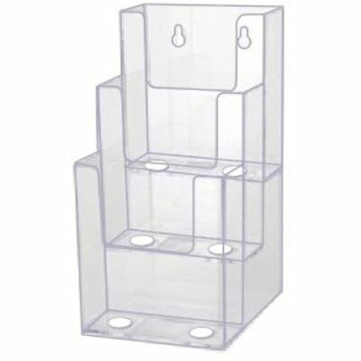 Store Sign Holders 4-Inch Wide Tier Premium TriFold Acrylic Brochure Holder,