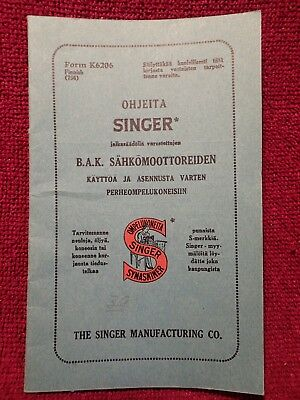 Antique Sewing Machines Singer Operating Manual In Finnish / Finland Language
