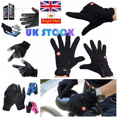 UK Mens Womens Outdoor Gloves Touch Screen Waterproof Unisex Thermal Mittens